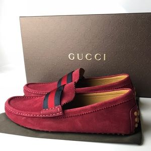 burgundy gucci loafers